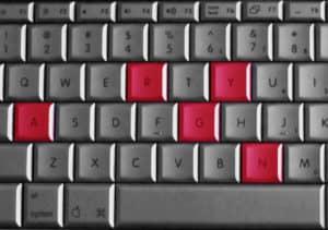Изображение клавиатуры со словом сердитый, написанным на ней